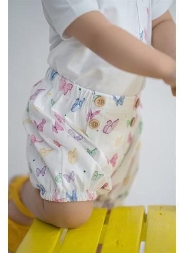Nila Kids Butterfly Organik Kız Bebek şort Beyaz